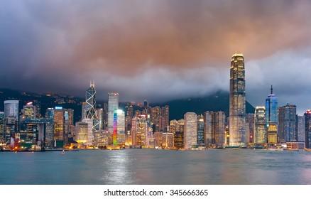 Hong Kong at night view from Kowloon side to Hong Kong island.