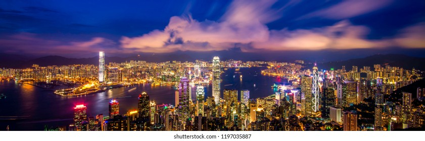Hong Kong night view from Victoria Peak.