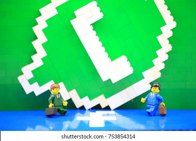 HONG KONG; NOV 1: lego minifigure with the set of city lego in hong kong on 1 November 2017. Lego are a popular line but of plastic construction toys manufactured by The Lego Group in Denmark