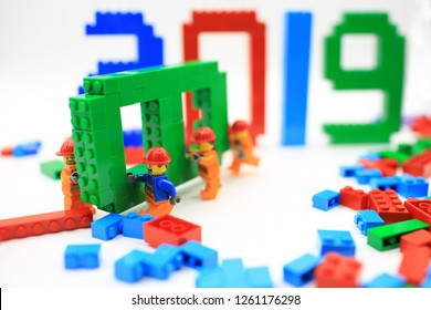 HONG KONG; NOV 11: lego minifigure with the set of city lego in hong kong on 11 November 2017. Legos are a popular line of plastic construction toys manufactured by The Lego Group in Denmark