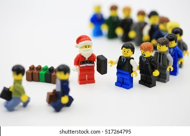 HONG KONG NOV 14: studio shot of Lego minifigure display in Hong Kong on 14 November 2016. Legos are a popular line of plastic construction toys manufactured by The Lego Group in Denmark