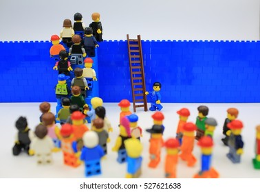 HONG KONG, NOV 25: Studio shot of Lego people in hong kong on 25 November 2016.Legos are a popular line but of plastic construction toys manufactured by The Lego Group in Denmark