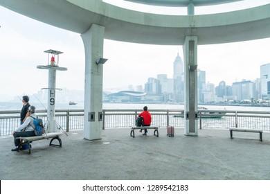 HONG KONG - NOVEMBER 10, 2018: Day scene of central pier no.9 at Hong Kong
