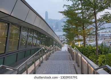 HONG KONG - NOVEMBER 10, 2018: Night scene of West Kowloon railway station. This terminus is the only train station in Hong Kong that connect to Mainland China.
