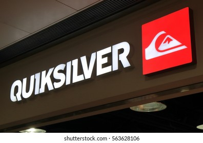 HONG KONG - NOVEMBER 11, 2016:Quicksilver fashion brand. Quicksilver is an American retail sporting company founded in Torquay Australia.
