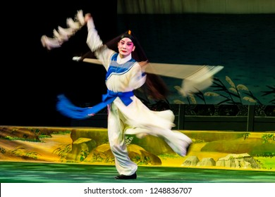Hong Kong - November 11 2018: Cantonese opera artist performs on the stage during the opera 'Four Beauties' at Sunbeam Theatre, Hong Kong