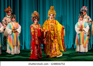 Hong Kong - November 11 2018: Cantonese opera artists perform on the stage during the opera 'Four Beauties' at Sunbeam Theatre, Hong Kong