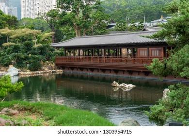 HONG KONG - NOVEMBER 11, 2018: Beautiful pavilion at Nan Lian garden, Hong Kong