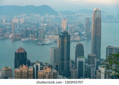 HONG KONG - NOVEMBER 11, 2018:  view of International Financial Centre building or IFC building at Hong Kong.