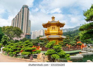 HONG KONG - NOVEMBER 11, 2018: Day scene of Pavilion of Absolute Perfection at Nan Lian garden, Hong Kong