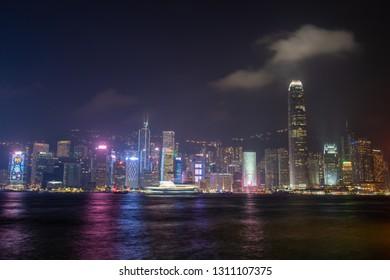 HONG KONG - NOVEMBER 11, 2018: Night scene of Hong Kong skyline at Victoria harbour.