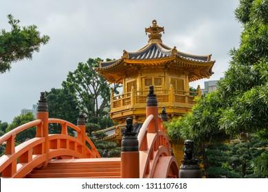 HONG KONG - NOVEMBER 11, 2018: Day scene of Pavilion of Absolute Perfection at Nan Lian garden, Hong Kong