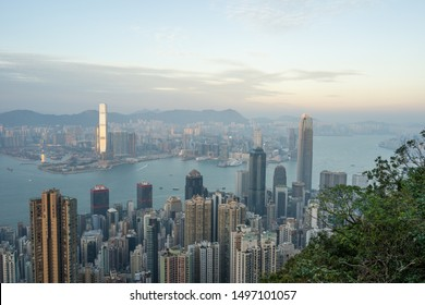 HONG KONG - NOVEMBER 11, 2018: Evening scene of Hong Kong city and Victoria harbour from The Peak.