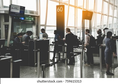 HONG KONG - November 12, 2017: Passenger and traveler waiting for boarding at boarding gate Hong Kong  International Airport.