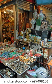 HONG KONG – NOVEMBER 17, 2007: Upper Lascar Row historical market memorabilia. Originally a bazaar, the market evolved into a famous place for antiques and second-hand items.