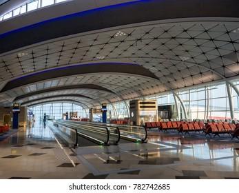 HONG KONG - NOVEMBER 18, 2017 - A new terminal at Hong Kong International airport in earily morning. Increasing in and out bound capacity of the airport.