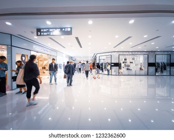 Hong Kong - November 18, 2018 :  People shopping in famous Harbor City .It is one of Hong Kong's premier shopping mall located in Tsim Sha Tsui district.