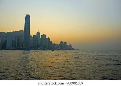 HONG KONG – NOVEMBER 20, 2007: sunset in Victoria harbor. Great number of skyscrapers in the waterfront.