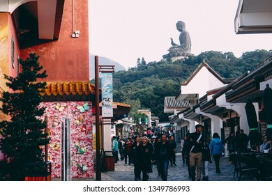 Hong Kong - November 2016 - Traditional village in Ngong Ping 360, Lantau Island, Hong Kong. From here can watch the Tian Tan Buddha - The worlds's tallest bronze Buddha.