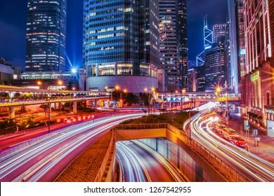 Hong Kong: November 2018: Beautiful view of the streets of Hong Kong at night.