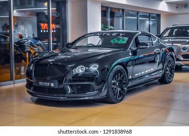 Hong Kong: November 2018: Beautiful view of the Bentley cars at Showroom.