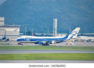 Hong Kong: November 2018: Beautiful view of cargo plane at Hong Kong International Airport.