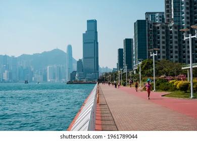 Hong Kong, November, 2019: Waterside (Hung Hom Promenade) in Kowloon, Hong Kong City