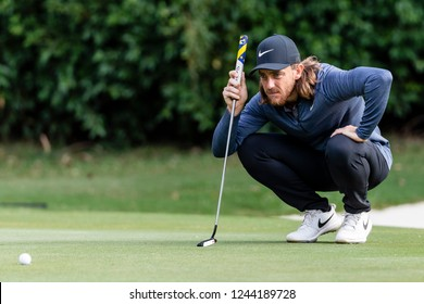 Hong Kong - November 22 2018: Tommy Fleetwood of England ponders his next move during day one of the Honma Hong Kong Open in Hong Kong, Hong Kong.