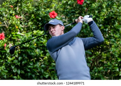 Hong Kong - November 22 2018: Matthew Fitzpatrick of England tees off during day one of the Honma Hong Kong Open in Hong Kong, Hong Kong.