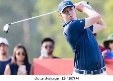 Hong Kong - November 23 2018: Matthew Fitzpatrick of England tees off during day two of the Honma Hong Kong Open in Hong Kong, Hong Kong.