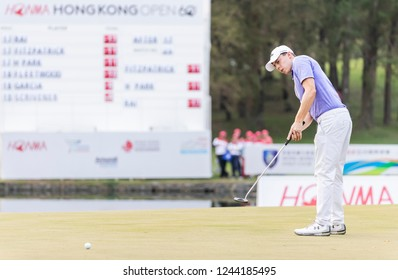 Hong Kong - November 24 2018: Matthew Fitzpatrick of England putts on the green during day three of the Honma Hong Kong Open in Hong Kong, Hong Kong.