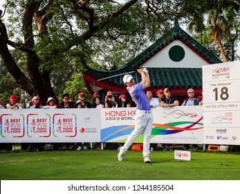 Hong Kong - November 24 2018: Matthew Fitzpatrick of England tees off during day three of the Honma Hong Kong Open in Hong Kong, Hong Kong.
