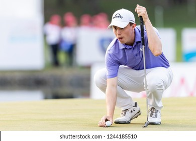 Hong Kong - November 24 2018: Matthew Fitzpatrick of England ponders his next move during day three of the Honma Hong Kong Open in Hong Kong, Hong Kong.