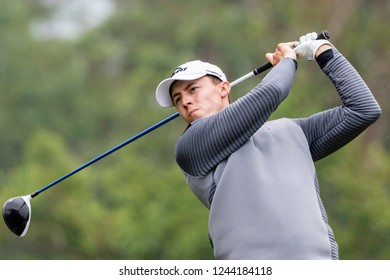 Hong Kong - November 25 2018: Matthew Fitzpatrick of England tees off during final round of the Honma Hong Kong Open in Hong Kong, Hong Kong.