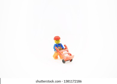Hong Kong, Novenmber 2 2018 : workers lego mini characters from different genation which are isolated on white in hong kong. Lego minifigure are the successful line in Lego products
