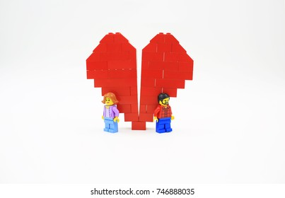 HONG KONG; OCT 1: lego minifigure with the set of city lego in hong kong on 1 October 2017. Legos are a popular line but of plastic construction toys manufactured by The Lego Group in Denmark