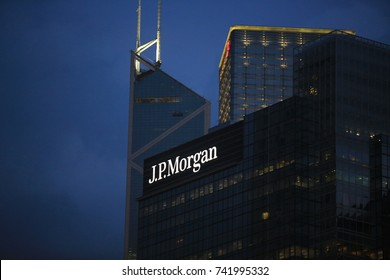 HONG KONG; OCT 1:the jp morgan building in hong kong on 1 October 2017. JPMorgan is a U.S. multinational banking and financial services holding company headquartered in New York City