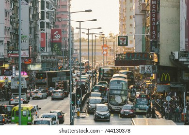 HONG KONG - OCT 21: Mongkok street view 21 October, 2017. MongKok is one of the major shopping areas in Hong Kong. The area is characterized by a mixture of old and new multi-story buildings.