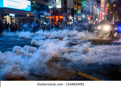 Hong Kong - Oct 27, 2019: Police break into an Anti-Police violence peaceful assembly in Tsim Sha Tsui, Hong Kong. Turn into a conflict across Kowloon.