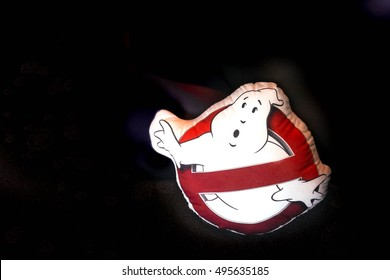 Hong Kong - Oct 5, 2016 : Ghostbusters logo on di-cut pillow, isolated on black wall. Copy space. Editorial Used Only.