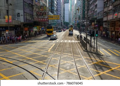 HONG KONG - OCT 5: Unidentified people use city tram on October 5, 2017. Hong Kong tram is the only system in the world run with double decker and one of the main tourist attractions.