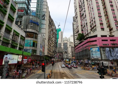 Hong Kong - Oct 5:People at street on October 5,2017 in Hong Kong,China.Hong Kong is one of the most significant financial centres and trade ports and fourth-most densely populated region in the world