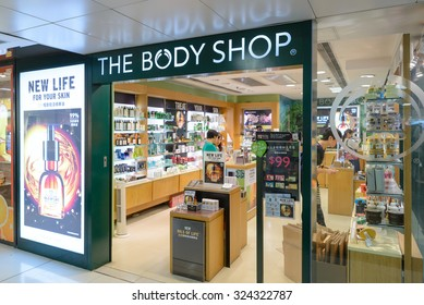 HONG KONG - OCT 6, 2015: The Body Shop store on October 6, 2015 in Hong Kong. Body Shop is part of famous L'Oreal group and has 2800 stores worldwide (2014).
