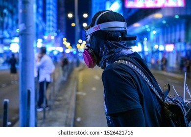 Hong Kong - Oct 6, 2019: Anti-Emergency Ordinance protest happened in Hong Kong Island and Kowloon, Hong Kong. Government is trying to ban mask from protest.