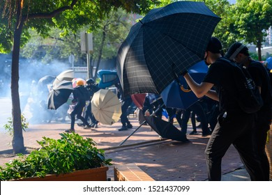 Hong Kong - October 1, 2019: 70th National Day of PRC, protest happened all over Hong Kong.