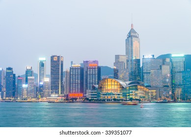 Hong Kong - October 14, 2015: Hong Kong skyline on October 14 in China, Hong Kong.