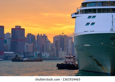 HONG KONG - OCTOBER 14, 2018: Silver Shadow Cruise Ship in Victoria Harbour.