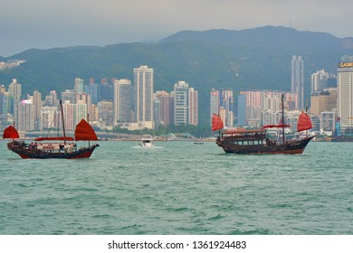 HONG KONG - OCTOBER 14, 2018: Red sail ships in Victoria harbour.