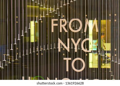 HONG KONG - OCTOBER 14, 2018: Decoration in the big shopping mall in downtown of Asian metropolis.