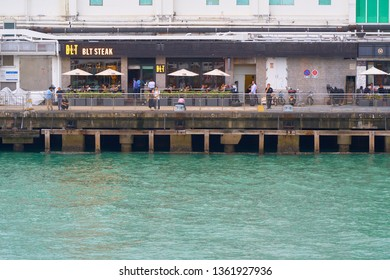 HONG KONG - OCTOBER 14, 2018: The view of the quay of Victoria harbour.